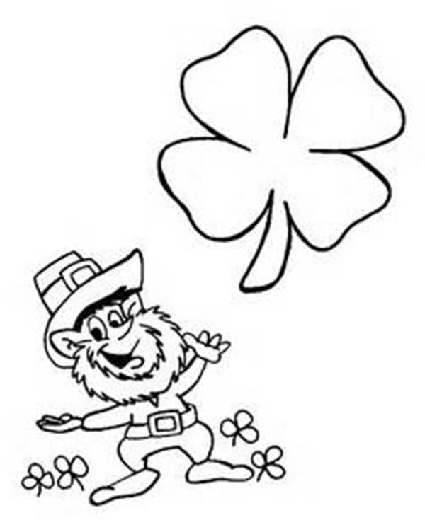 Four-Leaf Clover, : Happy Leprechaun with Four-Leaf Clover Coloring Page