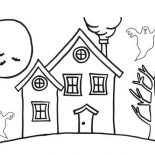 House, Haunted Houses In The Night Coloring Page: Haunted Houses in the Night Coloring Page