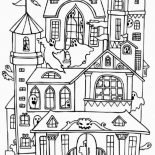House, Haunted Houses With Many Ghost Coloring Page: Haunted Houses with Many Ghost Coloring Page