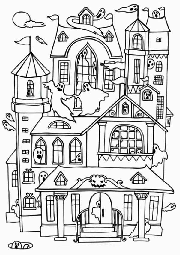 House, : Haunted Houses with Many Ghost Coloring Page
