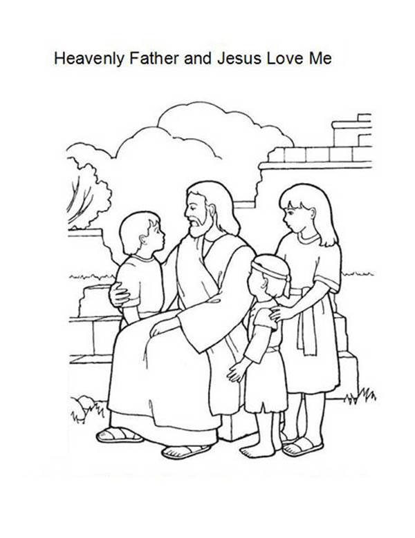 Jesus Loves Me, : Heavenly Father and Jesus Love Me Coloring Page