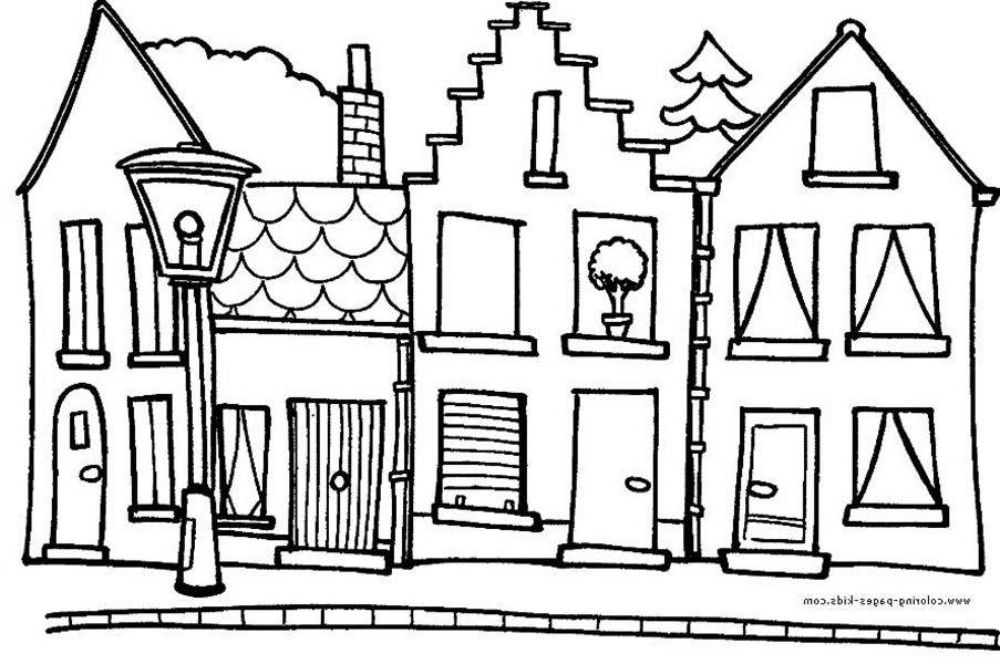 House, : Hometown House in Houses Coloring Page