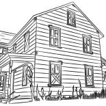 House, House Made From Wood In Houses Coloring Page: House Made from Wood in Houses Coloring Page