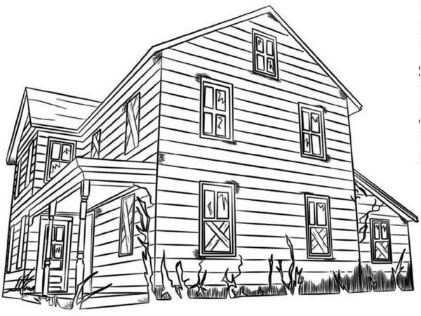 House, : House Made from Wood in Houses Coloring Page