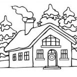 House, House Picture On Winter In Houses Coloring Page: House Picture on Winter in Houses Coloring Page