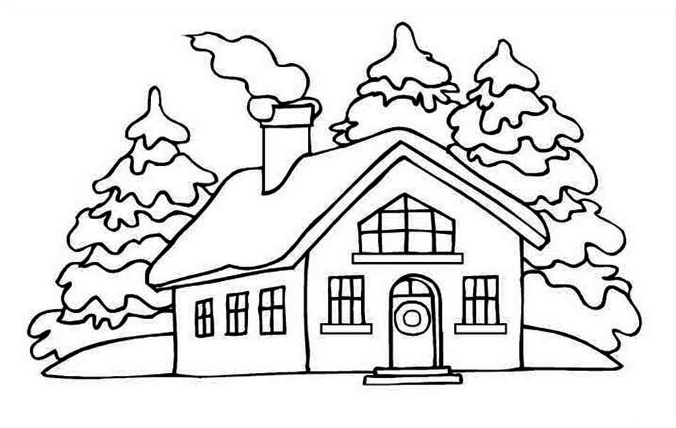 House, : House Picture on Winter in Houses Coloring Page