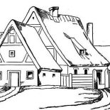 House, House With Big Barn In Houses Coloring Page: House with Big Barn in Houses Coloring Page