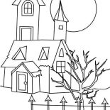 House, House With Dead Tree In Houses Coloring Page: House with Dead Tree in Houses Coloring Page