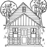 House, Houses With Two Big Trees Coloring Page: Houses with Two Big Trees Coloring Page