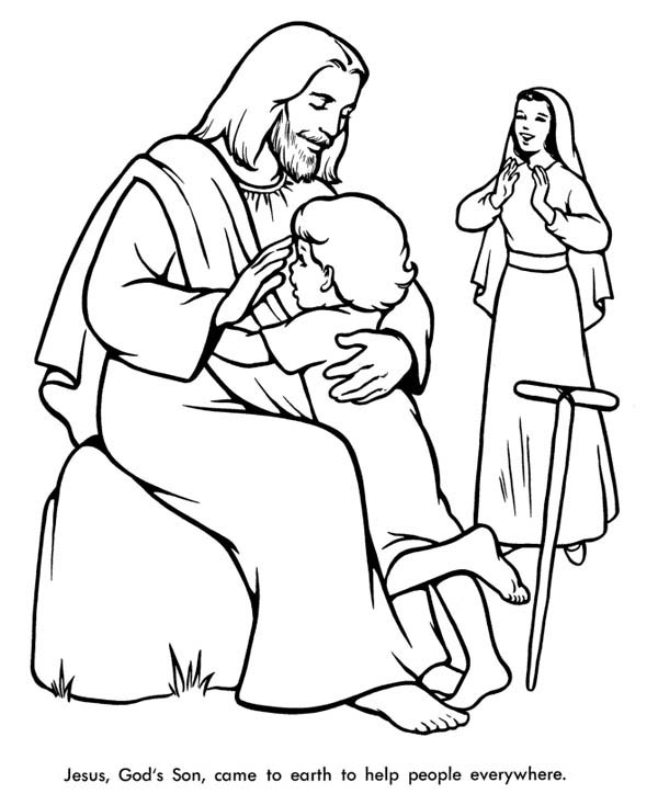 Jesus Loves Me, : Jesus Come to Earth to Help People Everywhere and Jesus Love Me Coloring Page