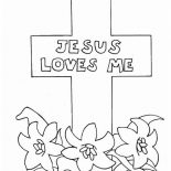 Jesus Loves Me, Jesus Love Me Cross Coloring Page: Jesus Love Me Cross Coloring Page