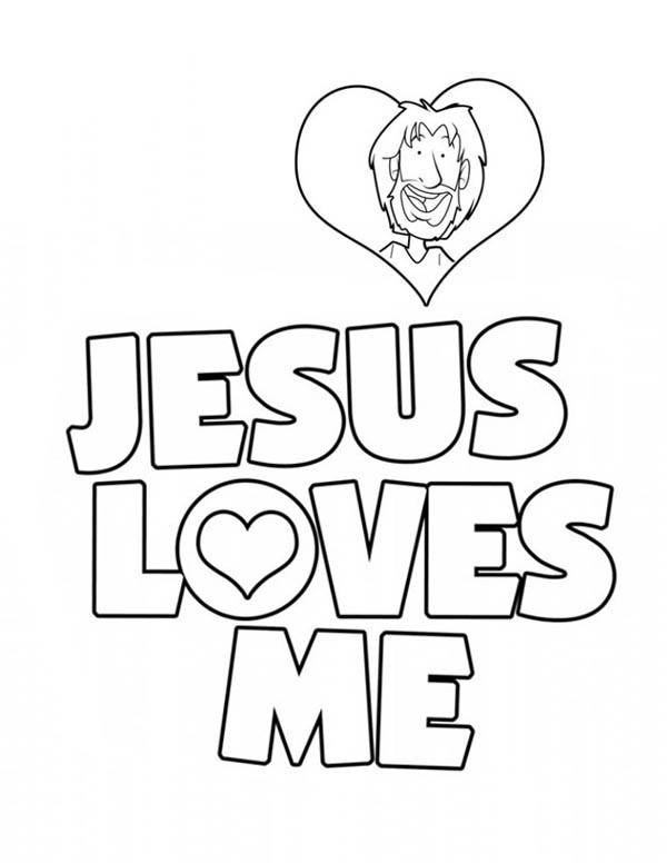 Jesus Loves Me, : Jesus Love Me Sticker Coloring Page