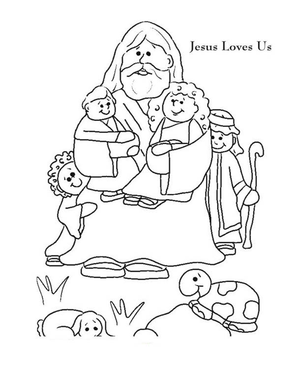 Jesus Loves Me, : Jesus Love Me and Jesus Love Us Picture Colorig Page