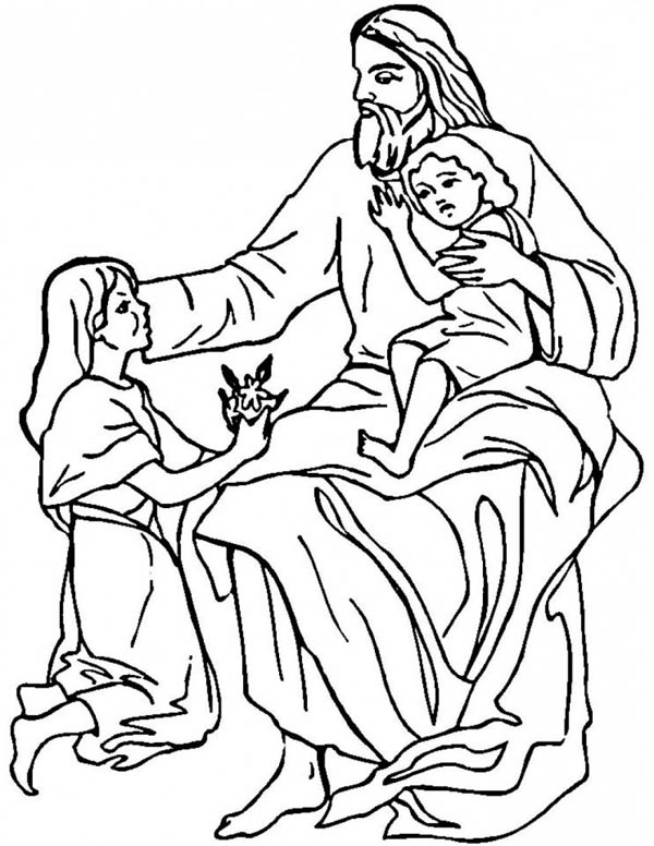 Jesus Loves Me, : Jesus Loves The Children and Jesus Love Me Coloring Page