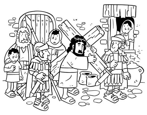 Jesus Loves Me, : Jesus Walking with Cross Made of Wood and Jesus Love Me Coloring Page