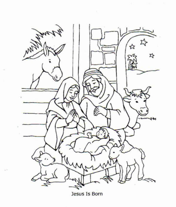 Jesus Is Born And Jesus Love Me Coloring Page Color Luna