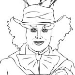 Mad Hatter, Johnny Deep Mad Hatter Coloring Page: Johnny Deep Mad Hatter Coloring Page