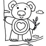 Koala Bear, Koala Bear Climbing Tree Coloring Page: Koala Bear Climbing Tree Coloring Page