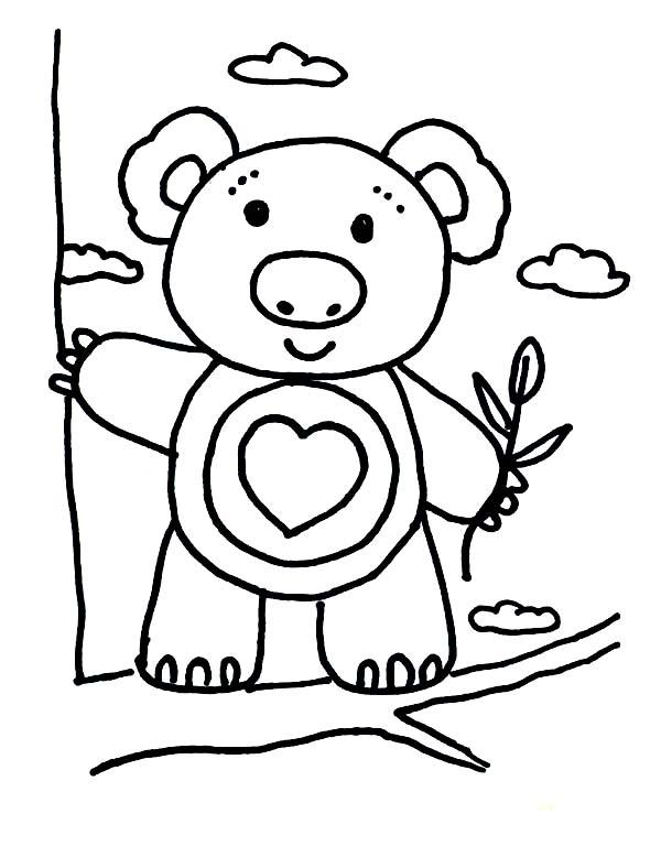 Koala Bear, : Koala Bear Climbing Tree Coloring Page
