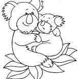 Koala Bear, Koala Bear Hug Her Baby Coloring Page: Koala Bear Hug Her Baby Coloring Page