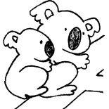 Koala Bear, Koala Bear Mom With Her Baby Coloring Page: Koala Bear Mom with Her Baby Coloring Page