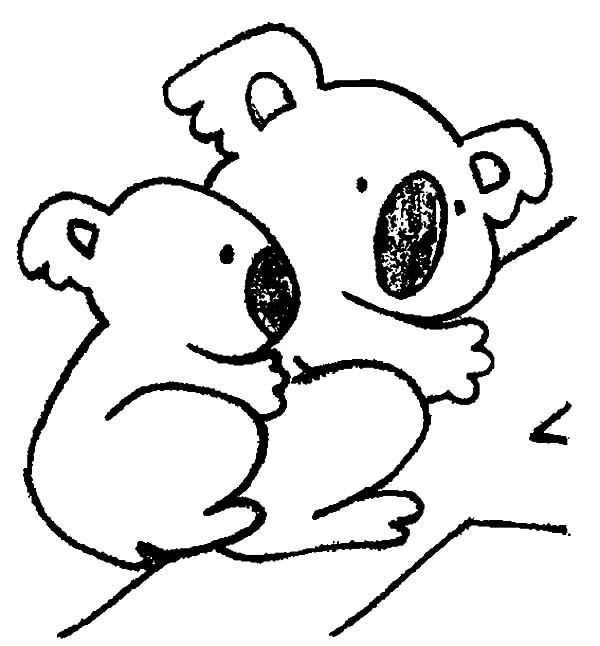 Koala Bear, : Koala Bear Mom with Her Baby Coloring Page