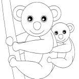 Koala Bear, Koala Bear And Her Baby Coloring Page: Koala Bear and Her Baby Coloring Page