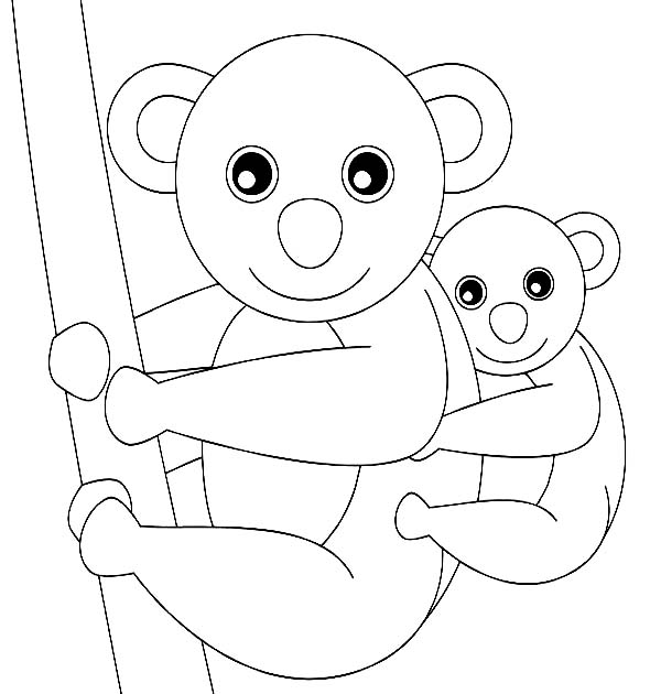 Koala Bear, : Koala Bear and Her Baby Coloring Page