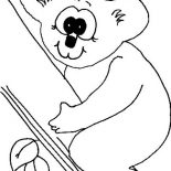 Koala Bear, Koala Bear With Big Eye Coloring Page: Koala Bear with Big Eye Coloring Page