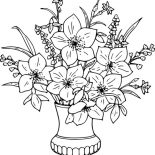Flower Bouquet, Lily Flower Bouquet In Vase Coloring Page: Lily Flower Bouquet in Vase Coloring Page