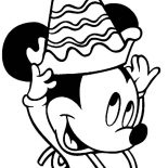 Happy Birthday, Little Mickey Mouse With Happy Birthday Hat Coloring Page: Little Mickey Mouse with Happy Birthday Hat Coloring Page