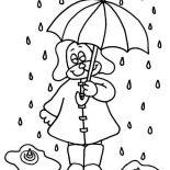 Raindrop, Little Puppy Under Raindrop With Umbrella Coloring Page: Little Puppy Under Raindrop with Umbrella Coloring Page