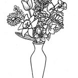 Flower Bouquet, Lovely Flower Bouquet In Thin Vase Coloring Page: Lovely Flower Bouquet in Thin Vase Coloring Page
