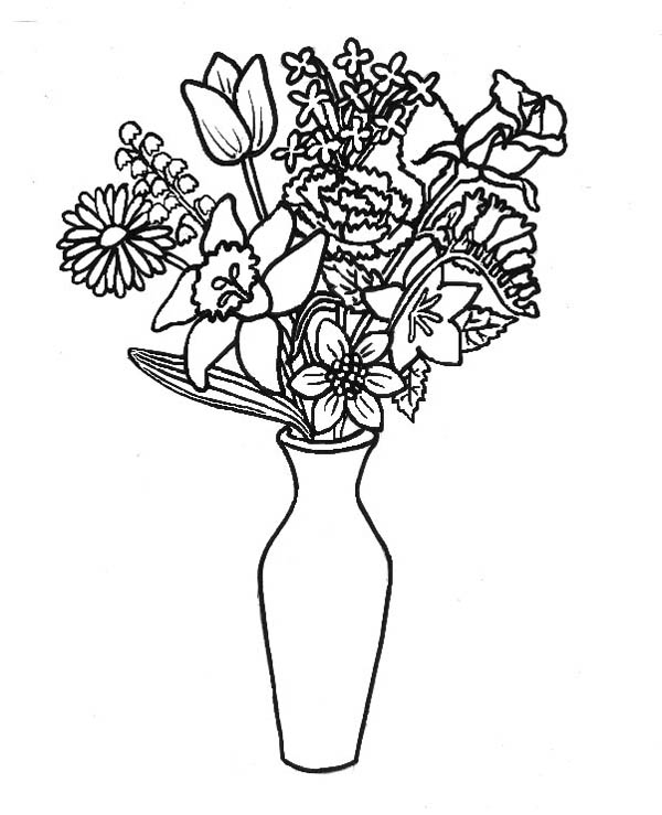 Flower Bouquet, : Lovely Flower Bouquet in Thin Vase Coloring Page