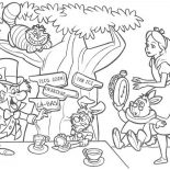 Mad Hatter, Mad Hatter Having Tea Party Coloring Page: Mad Hatter Having Tea Party Coloring Page