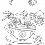 Mad Hatter, Mad Hatter Tea Party With Alice And White Rabbit Coloring Page: Mad Hatter Tea Party with Alice and White Rabbit Coloring Page