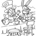 Mad Hatter, Mad Hatter And White Rabbit Tea Party In Alice In Wonderland Coloring Page: Mad Hatter and White Rabbit Tea Party in Alice in Wonderland Coloring Page