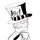 Mad Hatter, Mad Hatter With Bow Tie Coloring Page: Mad Hatter with Bow Tie Coloring Page