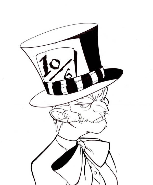 Mad Hatter, : Mad Hatter with Bow Tie Coloring Page