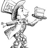 Mad Hatter, Mad Hatter With Slice Of Cake Coloring Page: Mad Hatter with Slice of Cake Coloring Page