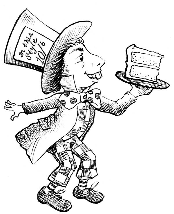 Mad Hatter, : Mad Hatter with Slice of Cake Coloring Page