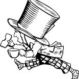 Mad Hatter, Mad Hatter With Too Big Hat Coloring Page: Mad Hatter with Too Big Hat Coloring Page