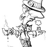 Mad Hatter, Mad Hatter With A Cup Of Tea And Biscuit Coloring Page: Mad Hatter with a Cup of Tea and Biscuit Coloring Page