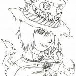 Mad Hatter, Manga Drawing Mad Hatter Coloring Page: Manga Drawing Mad Hatter Coloring Page