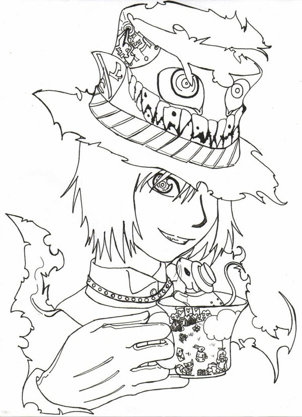 Mad Hatter, : Manga Drawing Mad Hatter Coloring Page