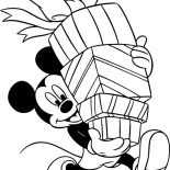 Happy Birthday, Mickey Mouse And Happy Birthday Presents Coloring Page: Mickey Mouse and Happy Birthday Presents Coloring Page