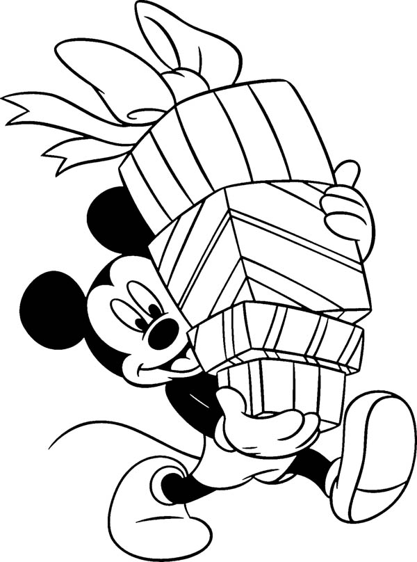 Happy Birthday, : Mickey Mouse and Happy Birthday Presents Coloring Page