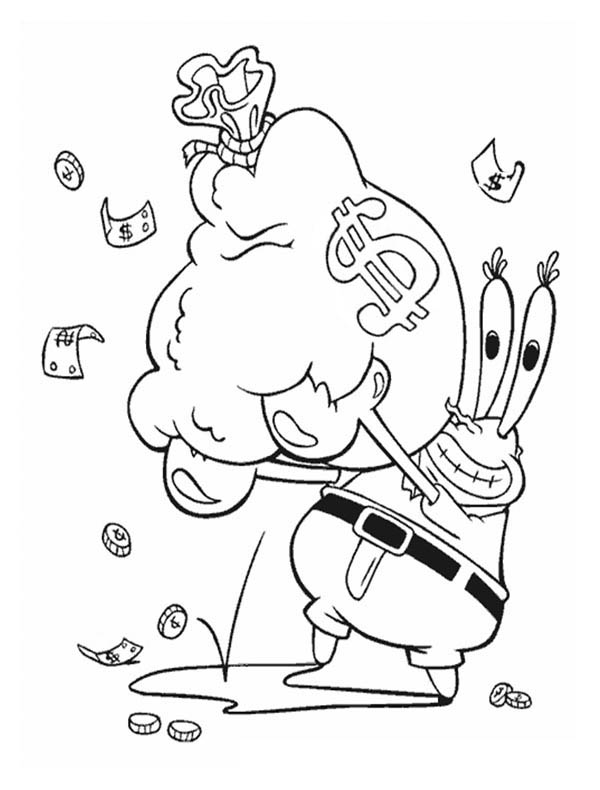 Krusty Krab, : Mr Krabs with a Bag Full of Money in Krusty Krab Coloring Page