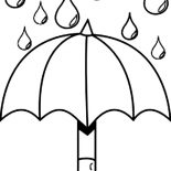 Raindrop, Nice Picture Of Raindrop And Umbrella Coloring Page: Nice Picture of Raindrop and Umbrella Coloring Page