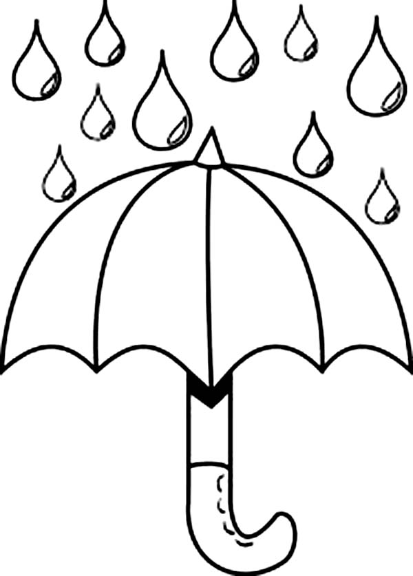 Raindrop, : Nice Picture of Raindrop and Umbrella Coloring Page